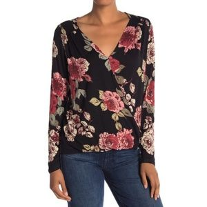 Floral Surplice Long Sleeve Top